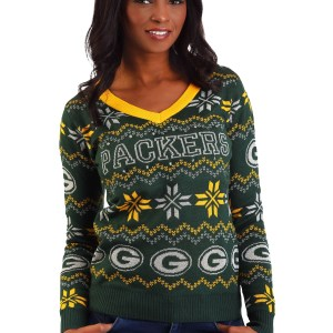 Women's Green Bay Packers Light Up V-Neck Bluetooth Ugly Christmas Sweater