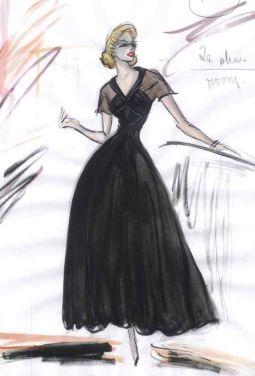Croquis de la robe noire dessiné par Edith head