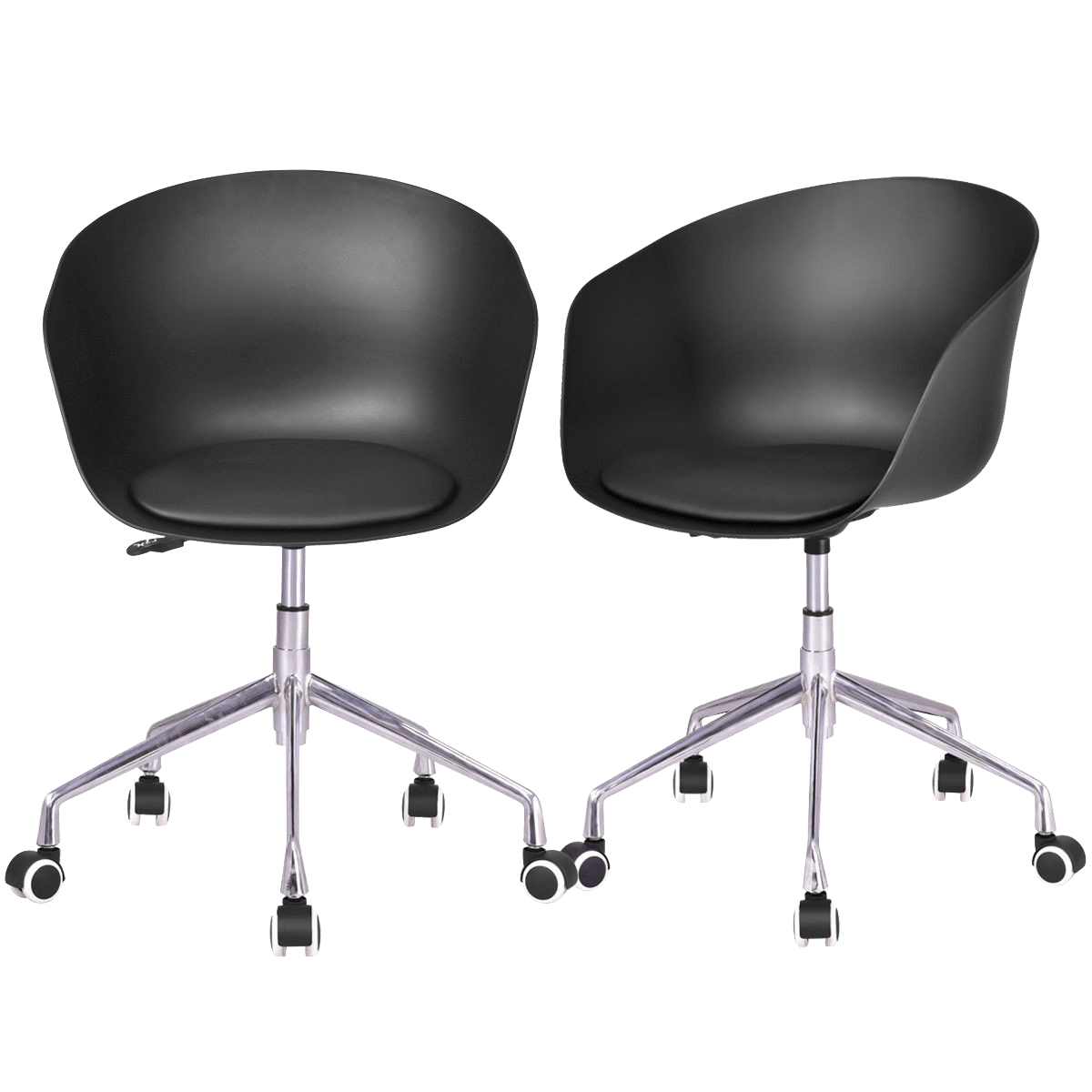 Height Adjustable Chair Set Of 2 Pp Swivel Height Adjustable Rolling Desk Chairs