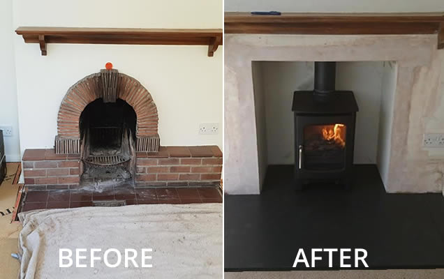 wood burner installation Trull Taunton