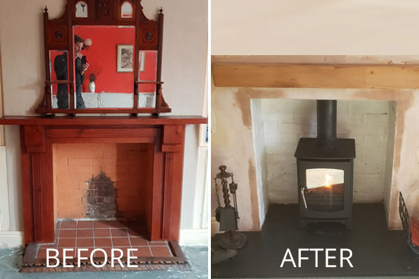 installation of woodburner in Burnham on Sea