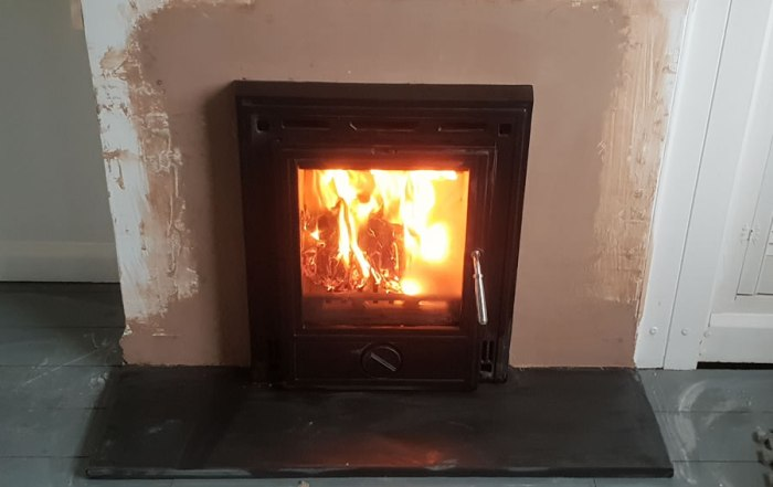 Inset woodburning stove installation installer Dulverton Somerset