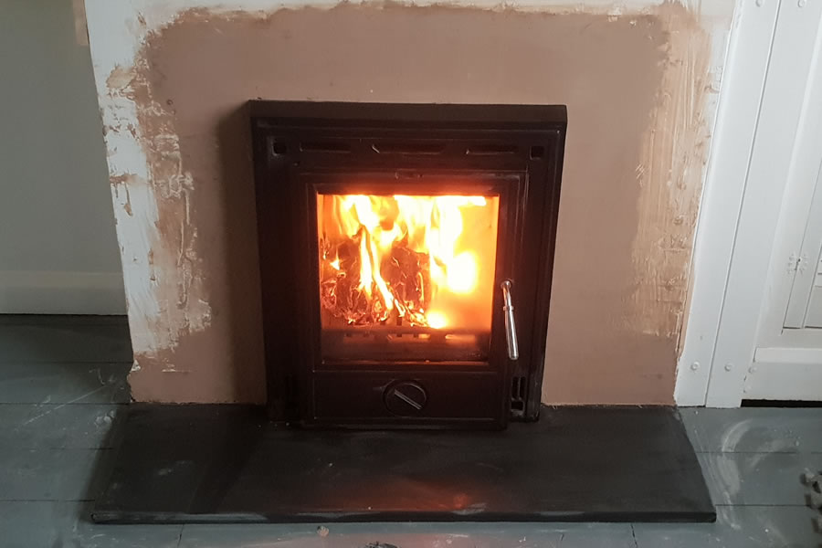 Inset woodburning stove installation and installer Dulverton Somerset