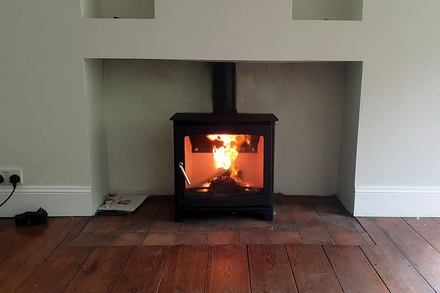 Woodburner installation in Holford