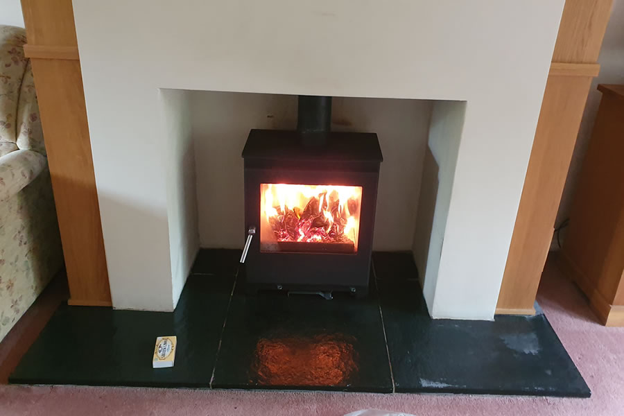 Installation of Woodford 5 Wide Woodburning Stoves in Glastonbury