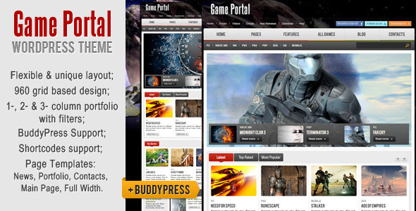 Game Portal WordPress & BuddyPress Theme