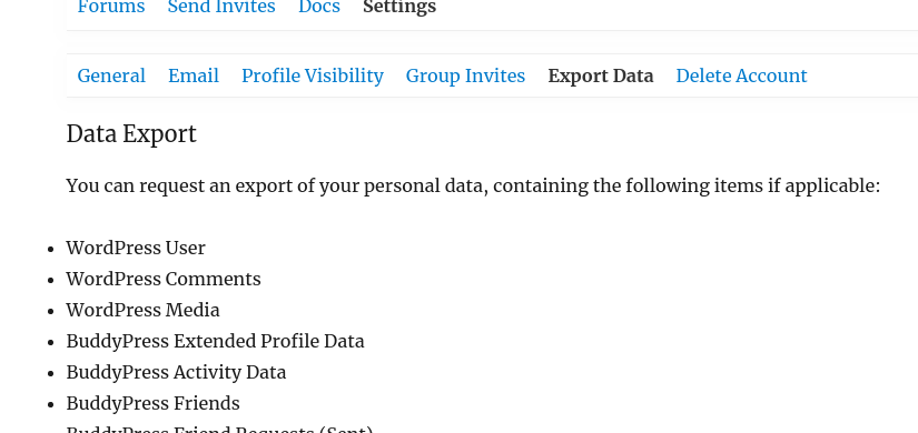 BuddyPress 4.0 - Data Export