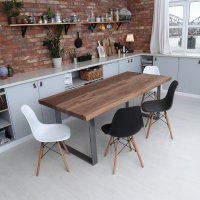 U Shaped Legs Live Edge Walnut Dining Table | cosywood.co.uk