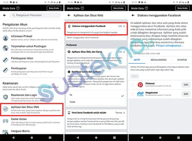 Viewing Apps, Web and Games Connected with Facebook