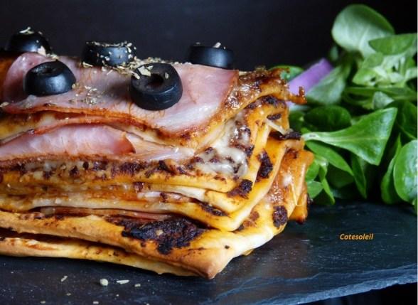 Millefeuille de pizza au bacon fumé