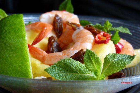 Salade ananas crevettes au gingembre