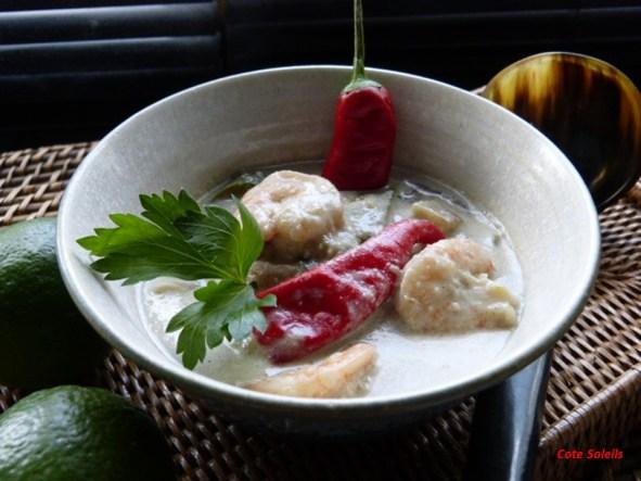 Gambas aubergine au curry vert