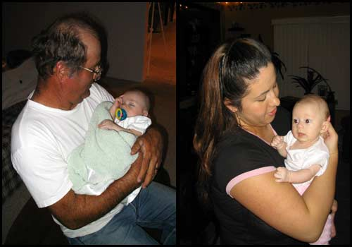 On the left is my uncle Joe holding his grandson Seth, on the right is my sister-in-law Christine holding her daughter Isabel.