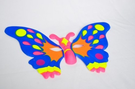 Careta Plastica Mariposa Fluo
