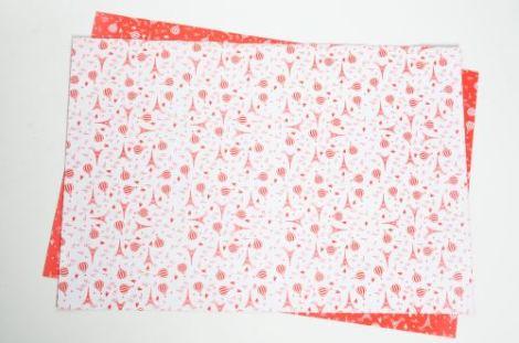 Cartulina Bifaz Decorada Paris globo blanco y rojo