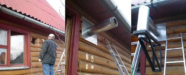 выход дымохода через деревянную стену