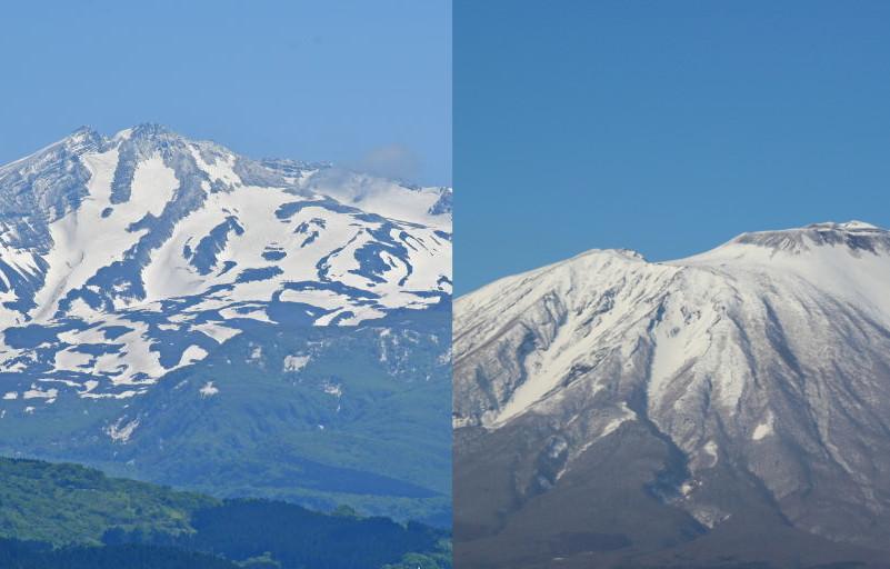岩手山の鷲の雪形、鳥海山のパンダの雪形