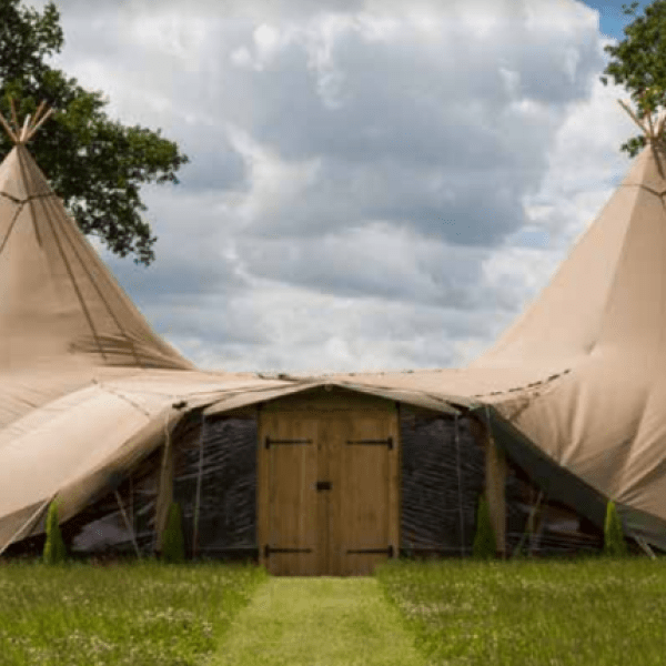 2 tipis with crystal wall and wooden doors