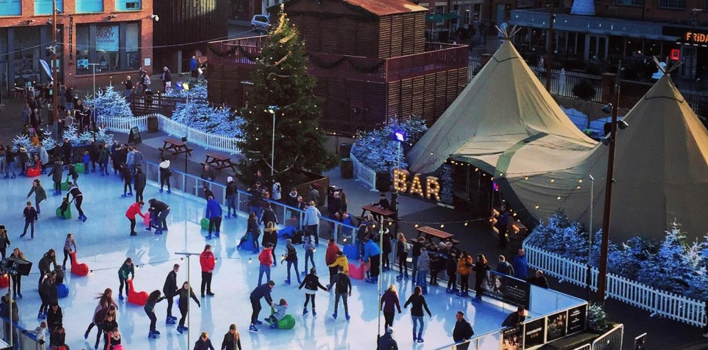 Arial view of Cotswold Tipis at Gloucester Quays Christmas Ice Rinks and Markets on hard standing firm ground
