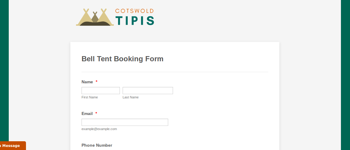 Image of the booking form that guests would use to book their bell tents directly