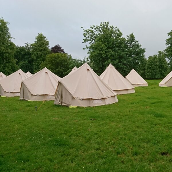 Pretty bell tents in a row at an event