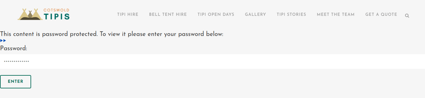 Image of Password box to enter Guest Accommodation Booking Page
