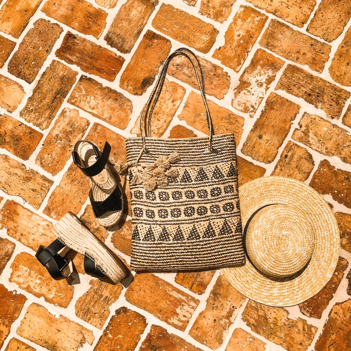 straw hat and bag