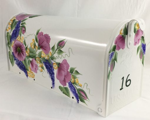 pink and purple rose garland hand painted mailbox