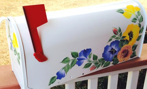 decorative floral hand painted mailbox