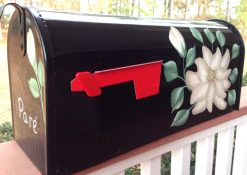 magnolia on black hand painted mailbox