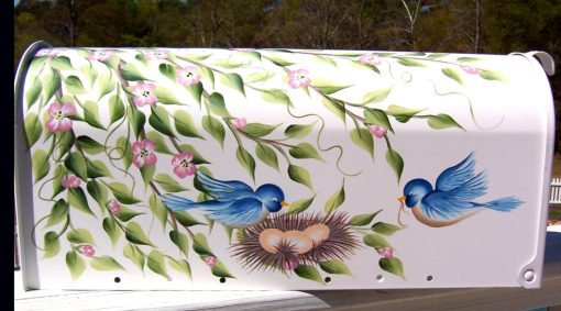 hand painted decorative mailbox with sweet blue birds building a nest