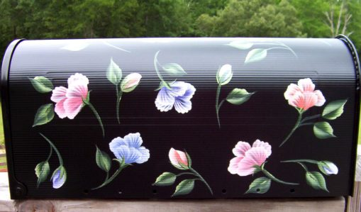 colorful flower blooms hand painted mailbox