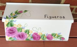 hand painted mailbox roses wall mount