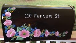 wild roses hand painted mailbox in purple, pink and yellow