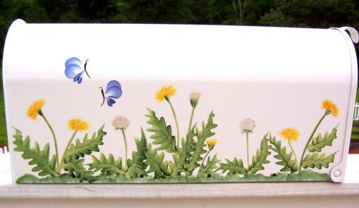 dandelions and butterflies hand painted mailbox