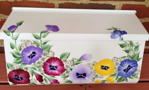 hand painted colorful pansies wall mount mailbox