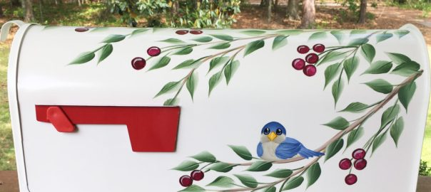 hand painted blue bird and cherry tree mailbox