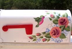 roses and hummingbird hand painted mailbox