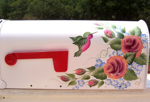 roses and hummingbird hand painted mailbox