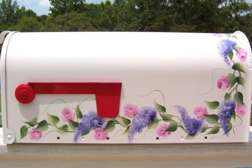 roses and wisteria hand painted mailbox