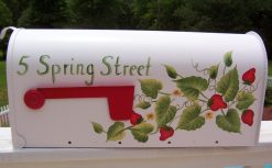 hand painted strawberries mailbox