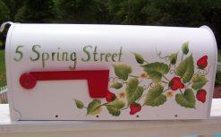 hand painted strawberries mailbox