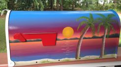 sunset beach palms painted mailbox