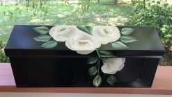 painted white roses wall mount