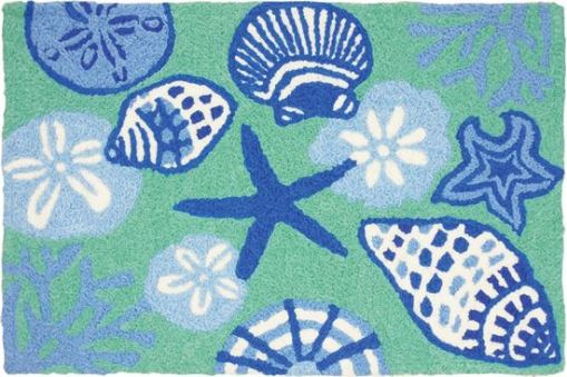 jellybean rug shell toss design in green and blue