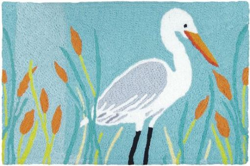 jellybean rug egret and cattails design