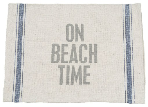 nautical kitchen dish towel reads on beach time