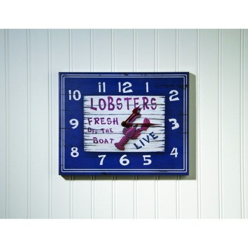 metal wall clock with lobsters, reads, lobsters fresh off the boat