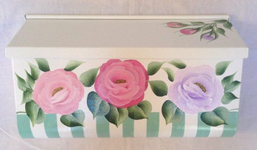 hand painted mailbox with 3 cottage roses