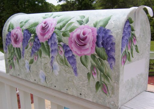 hand painted mailbox with roses butterflies and wisteria swag